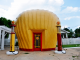 Clamshell shaped Shell gas station