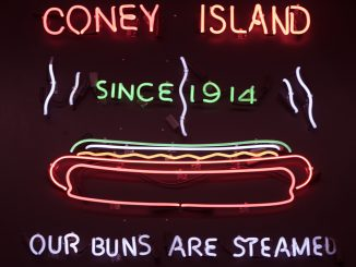 The Famous Hot Dog neon sign