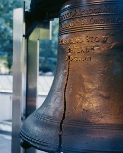 The famous cracked profile of the Liberty Bell.