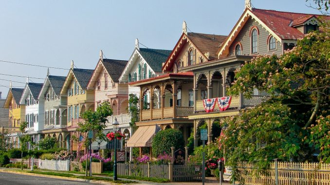 A row of Victorian homes at Cape May, New Jersey