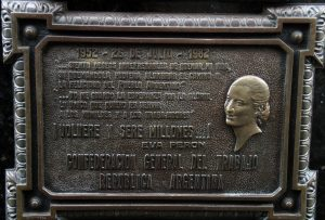 Plaque at the grave site of Eva Peron