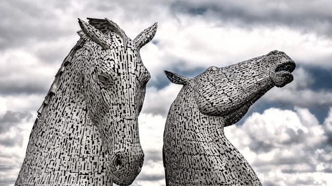 View of The Kelpies in the sky