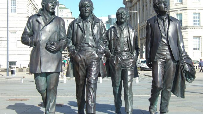 The Fab Four sculpture in Liverpool, England