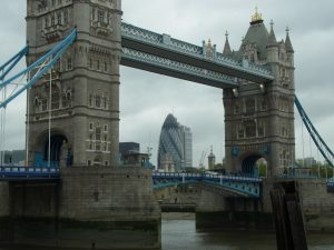 The Gherkin as seen through Tower Bridge